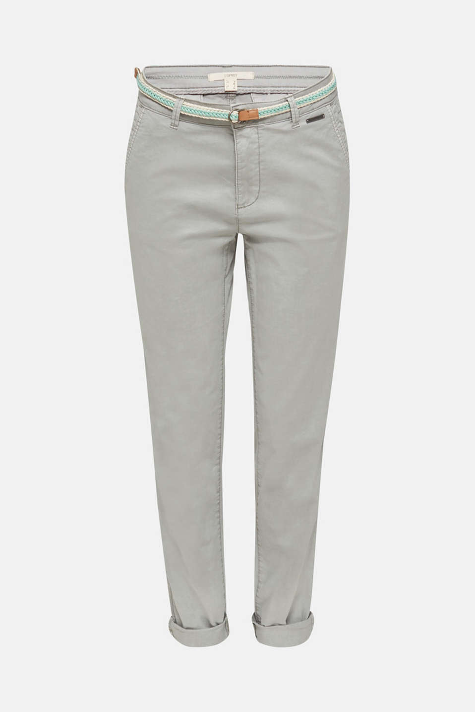 Stretch chinos with a woven belt, LIGHT GREY, detail image number 5