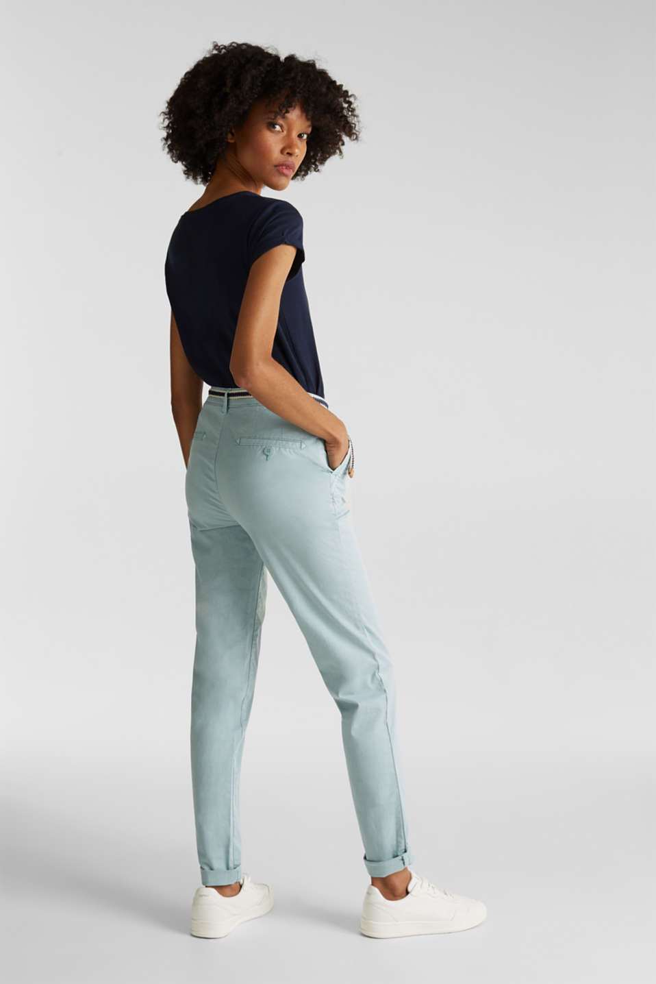 Stretch chinos with a woven belt, LIGHT AQUA GREEN, detail image number 3
