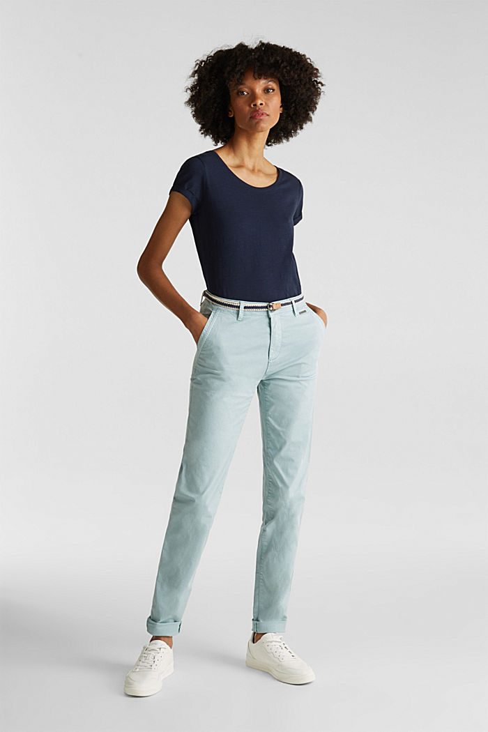 Stretch chinos with a woven belt, LIGHT AQUA GREEN, detail image number 1