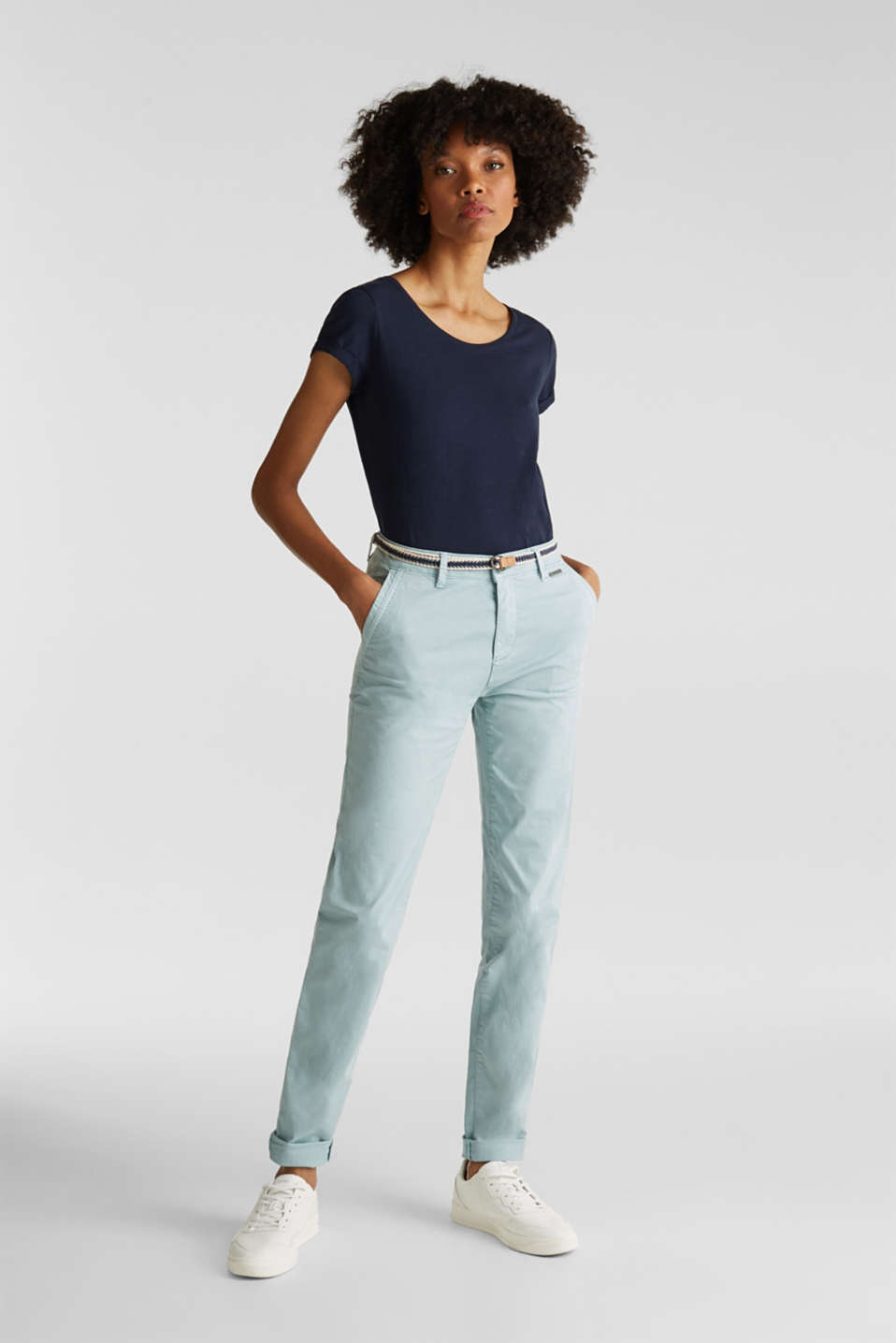 Summer chinos with stretch and a braided belt, LIGHT AQUA GREEN, detail image number 1