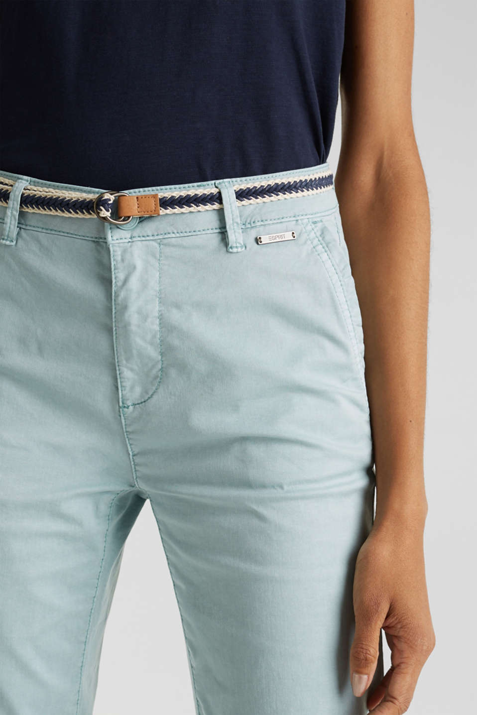 Summer chinos with stretch and a braided belt, LIGHT AQUA GREEN, detail image number 2