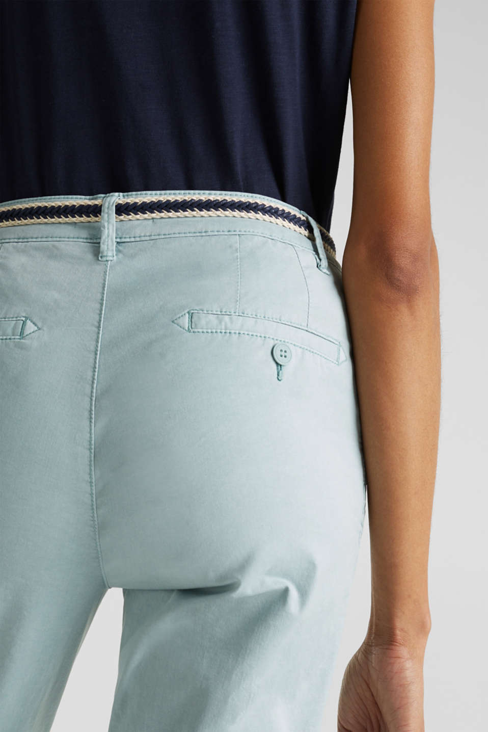 Summer chinos with stretch and a braided belt, LIGHT AQUA GREEN, detail image number 5