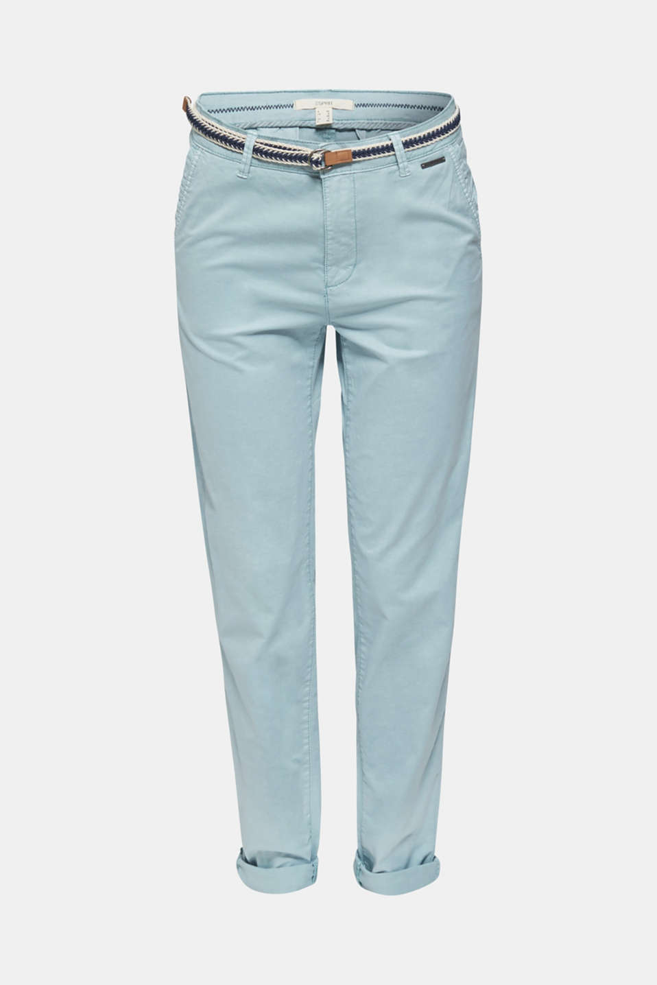 Summer chinos with stretch and a braided belt, LIGHT AQUA GREEN, detail image number 6