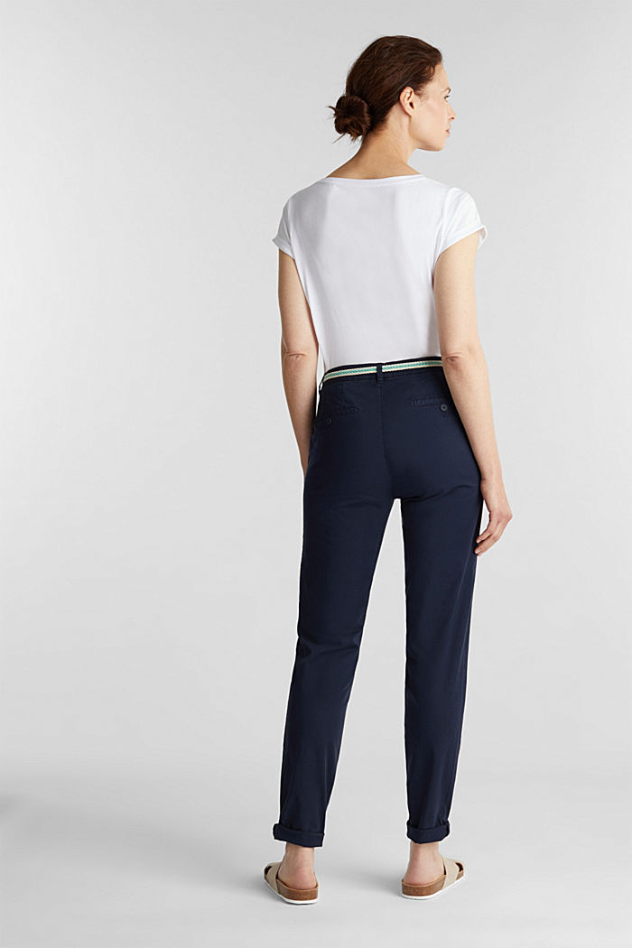 Stretch chinos with a woven belt, NAVY, detail image number 3