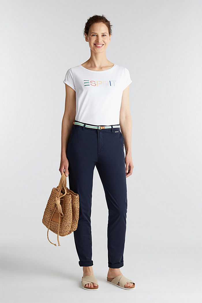 Stretch chinos with a woven belt, NAVY, detail image number 1