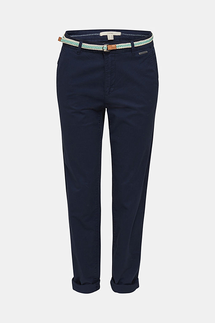 Stretch chinos with a woven belt