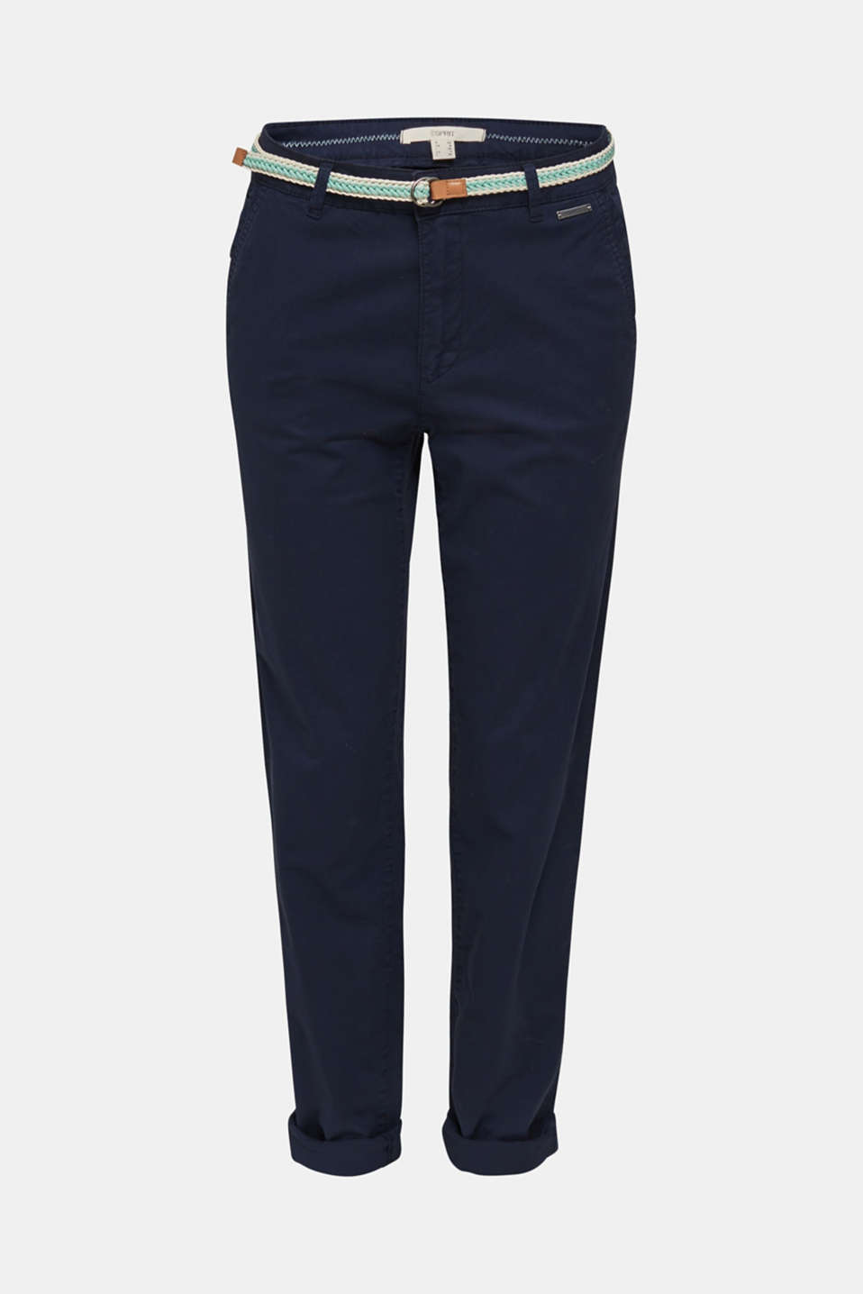 Stretch chinos with a woven belt, NAVY, detail image number 5