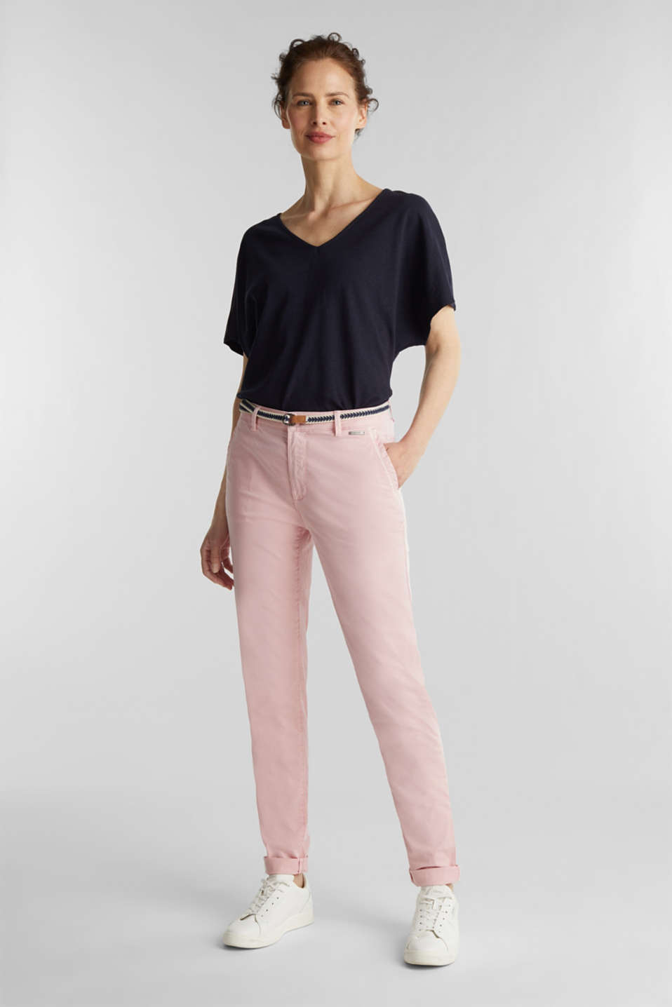 Stretch chinos with a woven belt, BLUSH, detail image number 0