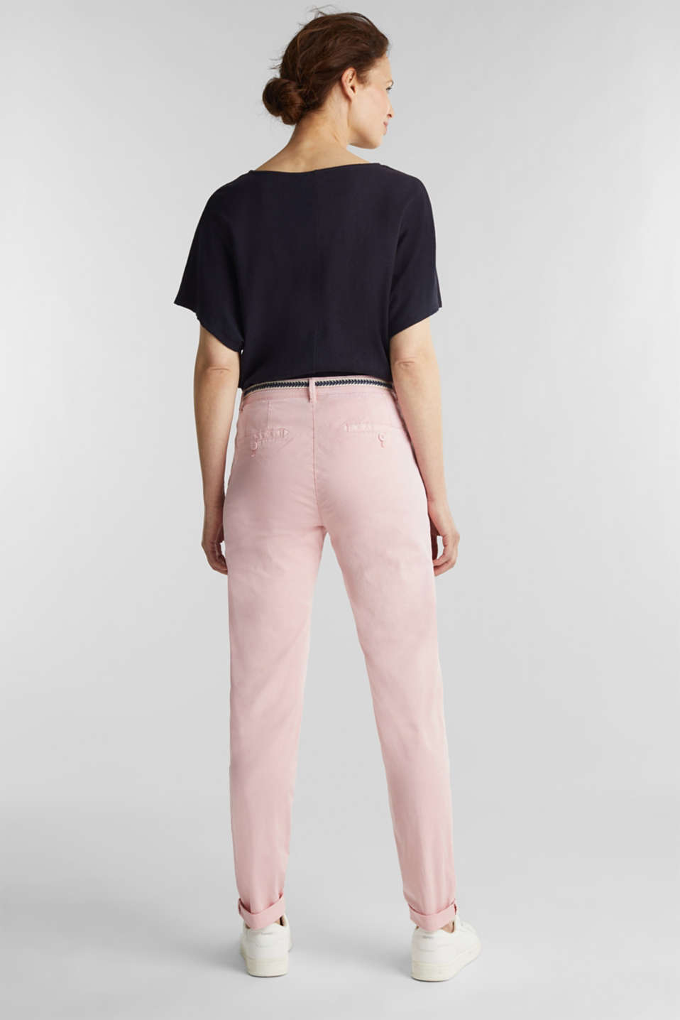Stretch chinos with a woven belt, BLUSH, detail image number 3