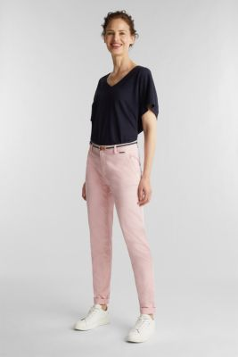 Stretch chinos with a woven belt, BLUSH, detail