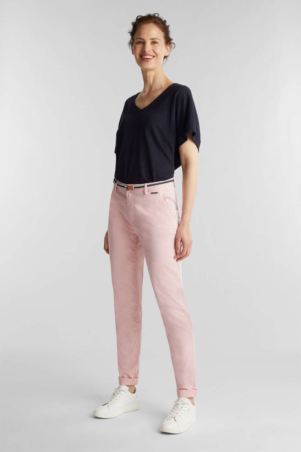 Stretch chinos with a woven belt, BLUSH, detail image number 1