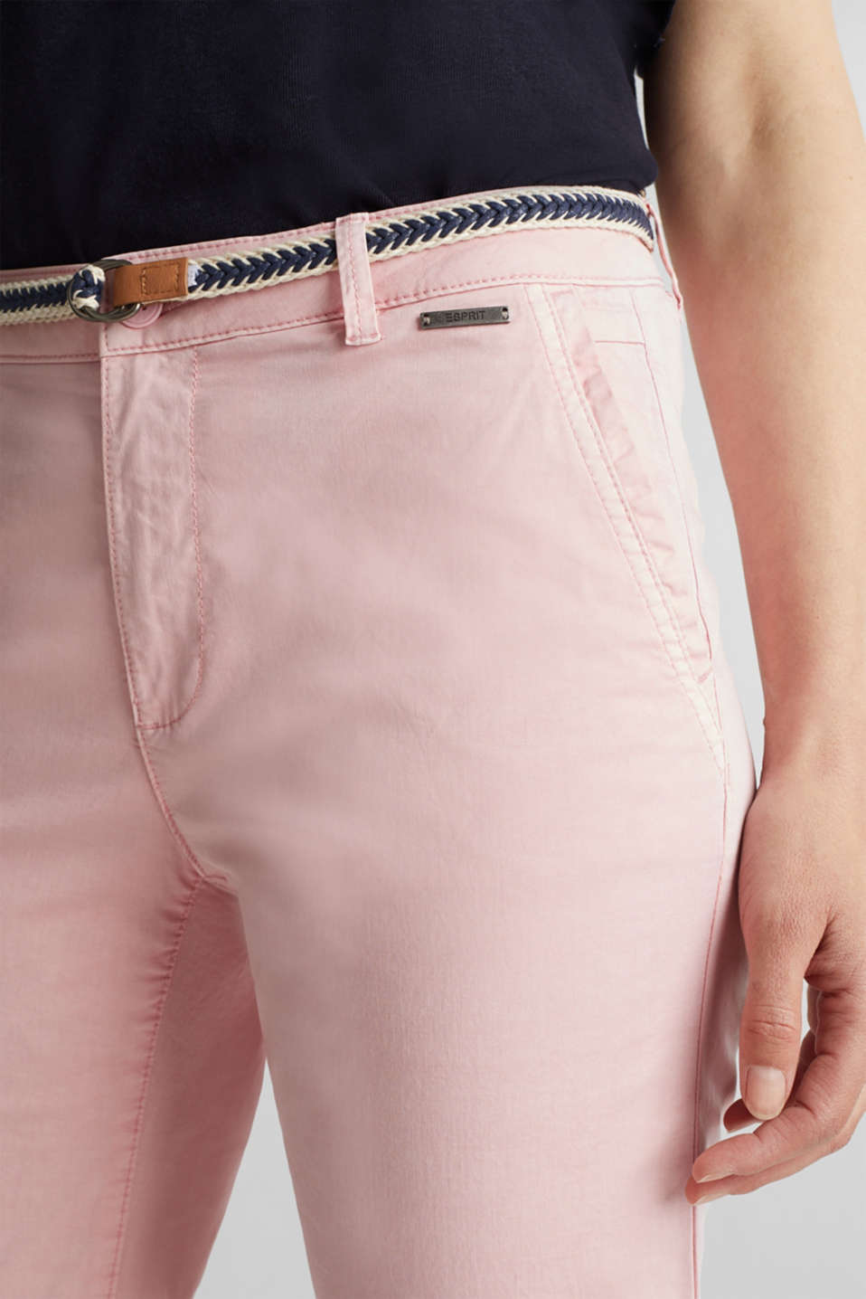 Stretch chinos with a woven belt, BLUSH, detail image number 2