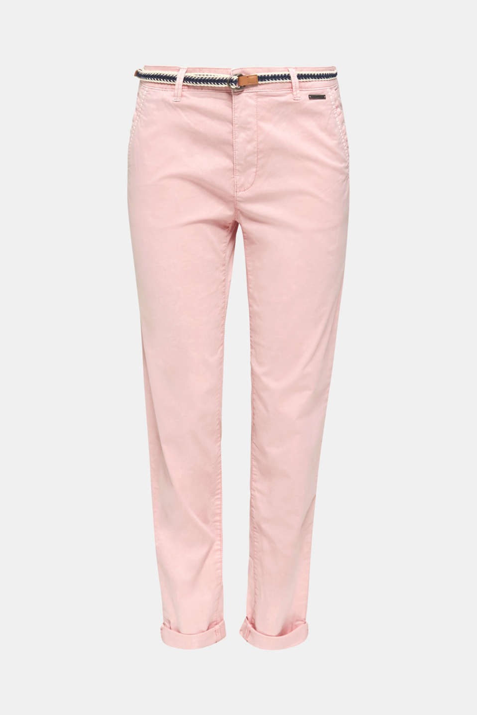 Stretch chinos with a woven belt, BLUSH, detail image number 7