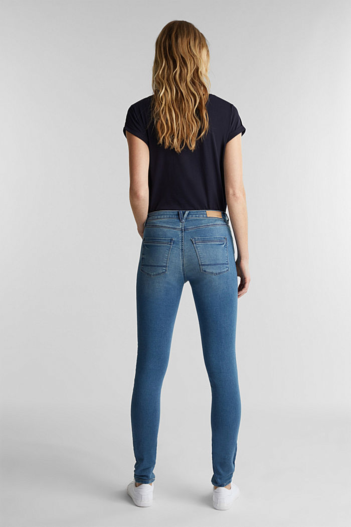 Skinny jeans made of tracksuit fabric, BLUE MEDIUM WASHED, detail image number 3
