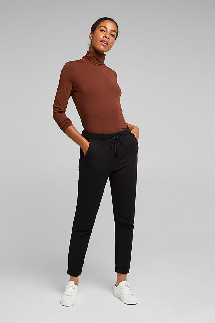 Stretch trousers in a tracksuit bottoms style, BLACK, detail image number 1