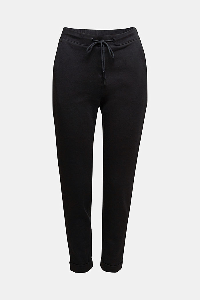 Stretch trousers in a tracksuit bottoms style, BLACK, detail image number 5
