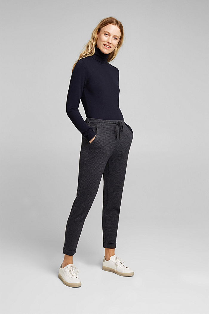 Jersey trousers in a tracksuit bottom style, GREY BLUE, detail image number 1