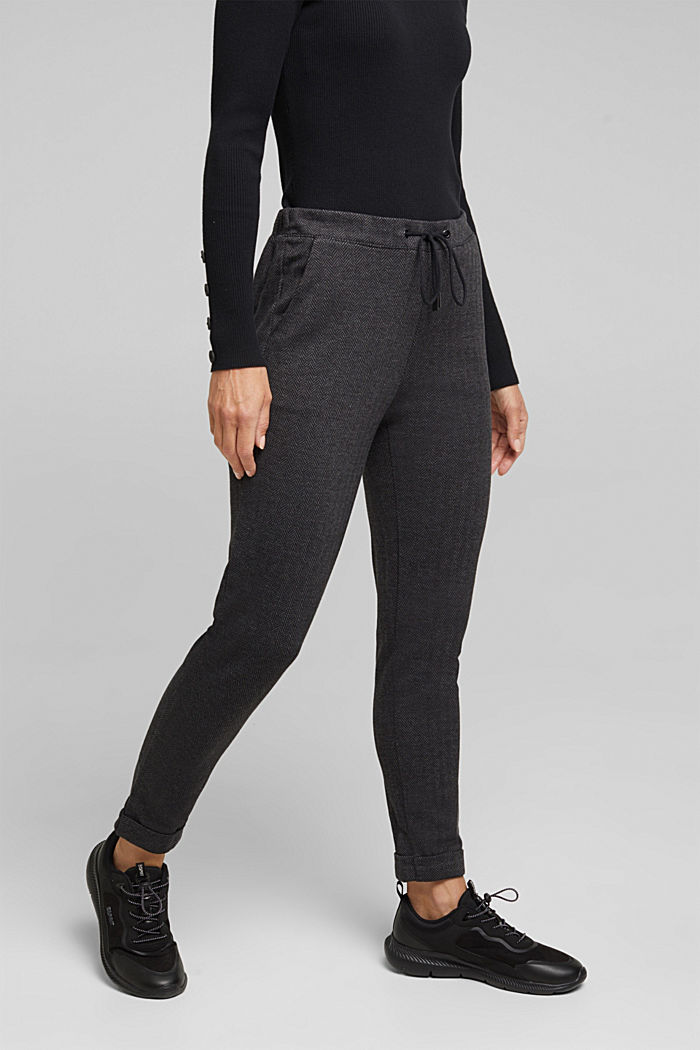 Herringbone trousers in a tracksuit bottom style, ANTHRACITE, detail image number 0