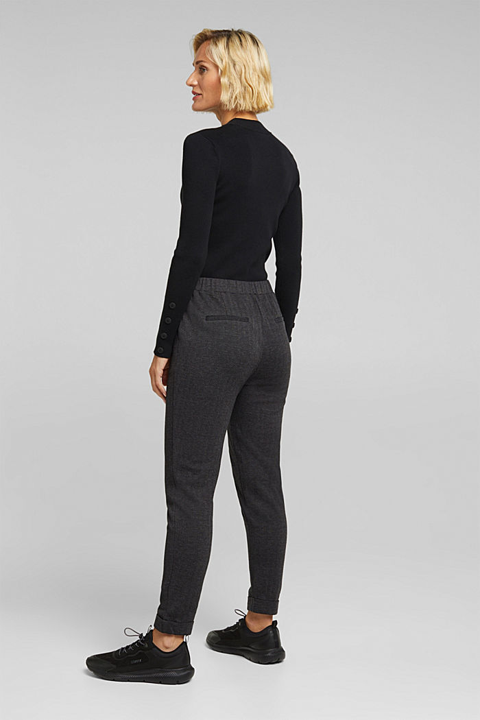 Herringbone trousers in a tracksuit bottom style, ANTHRACITE, detail image number 3