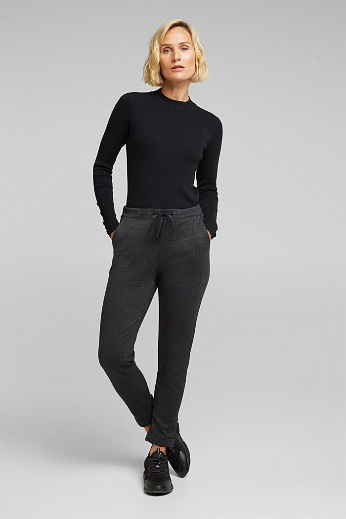 Herringbone trousers in a tracksuit bottom style, ANTHRACITE, detail image number 1