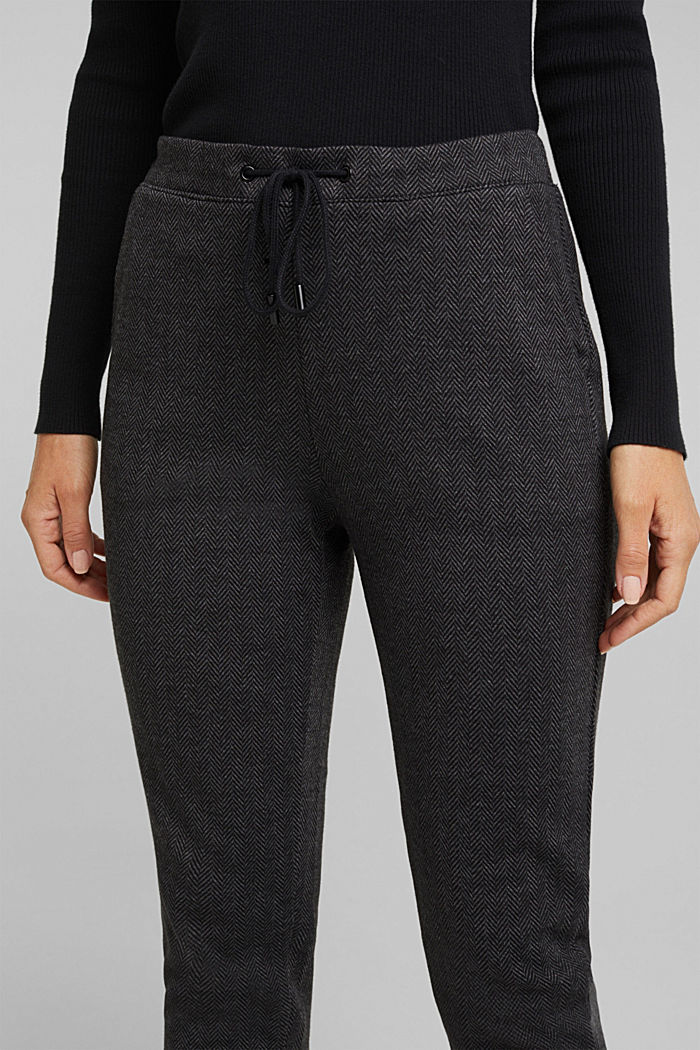 Herringbone trousers in a tracksuit bottom style, ANTHRACITE, detail image number 2