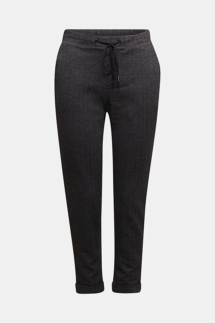 Herringbone trousers in a tracksuit bottom style, ANTHRACITE, detail image number 6