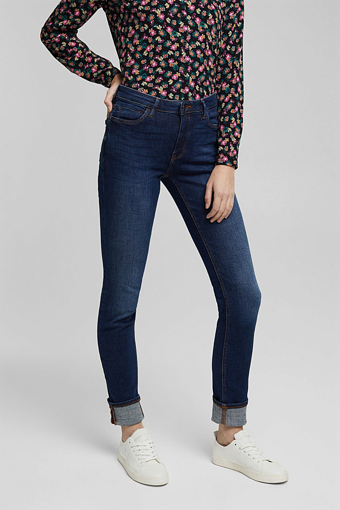 Stretch jeans in organic cotton, BLUE DARK WASHED, overview