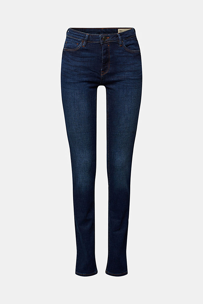 Stretch jeans in organic cotton, BLUE DARK WASHED, detail image number 6