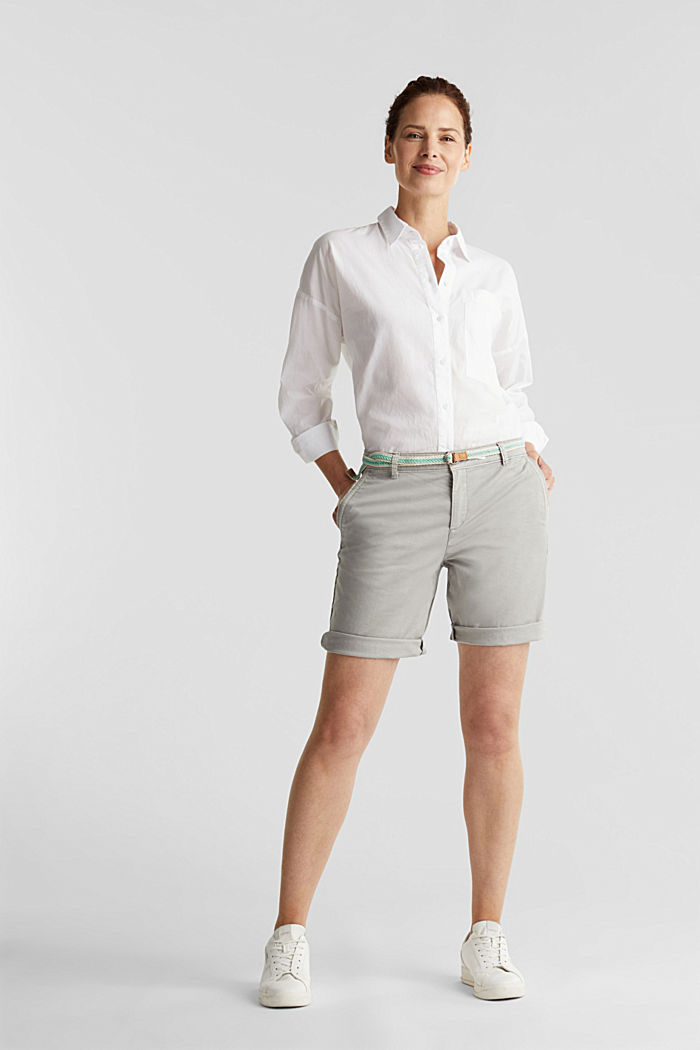Chino shorts with a belt, LIGHT GREY, detail image number 1
