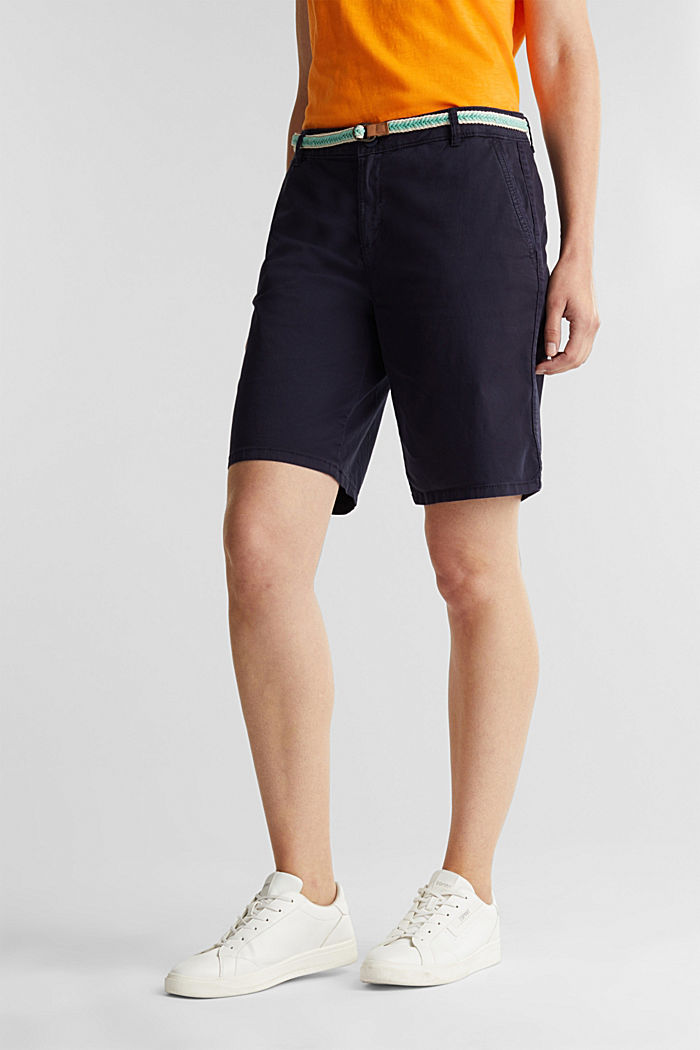 Chino shorts with a belt, NAVY, detail image number 0