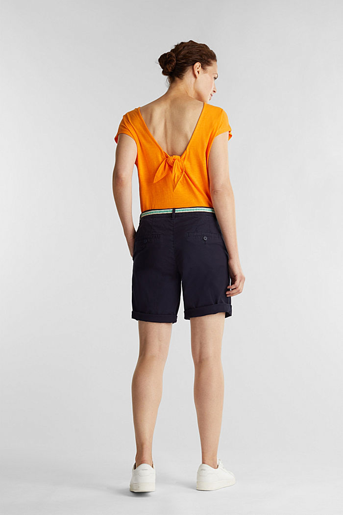 Chino shorts with a belt, NAVY, detail image number 3