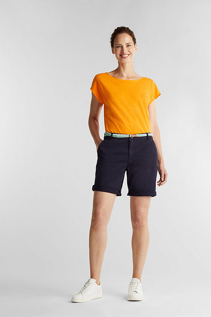 Chino shorts with a belt, NAVY, detail image number 1