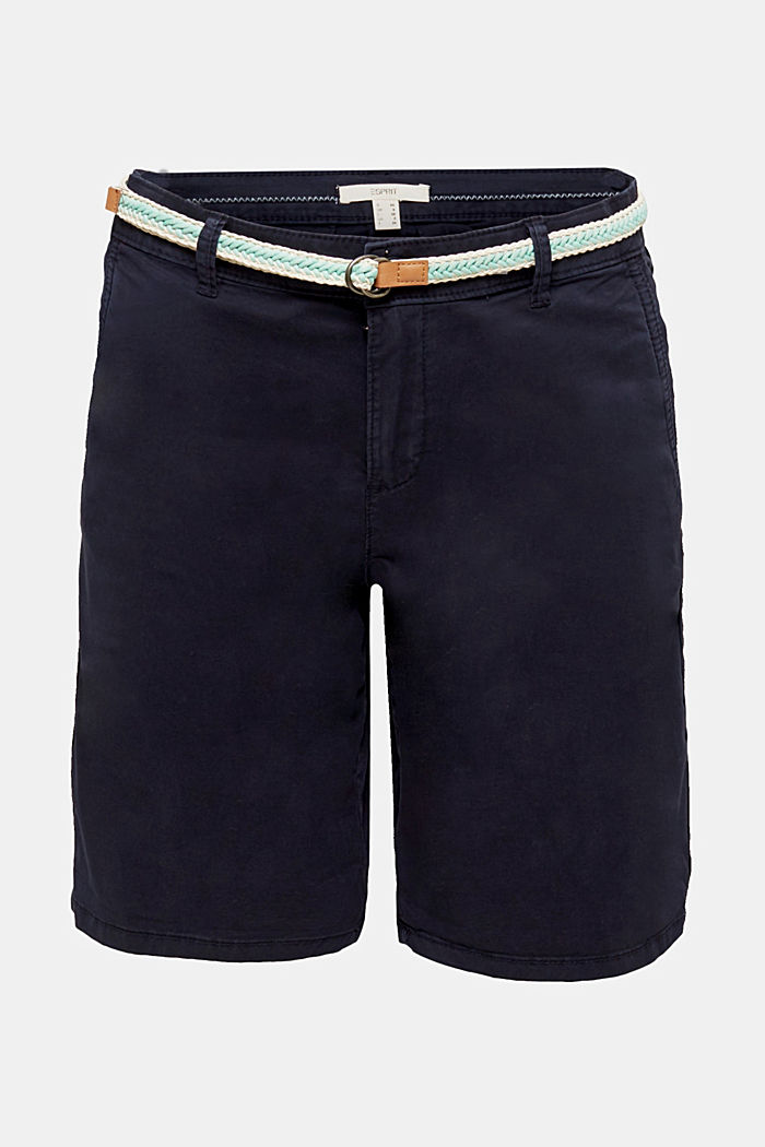 Chino shorts with a belt, NAVY, detail image number 5
