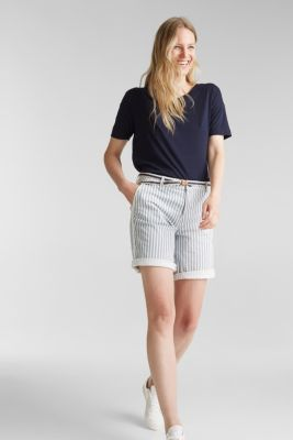 Chino shorts with a belt, GREY BLUE, detail