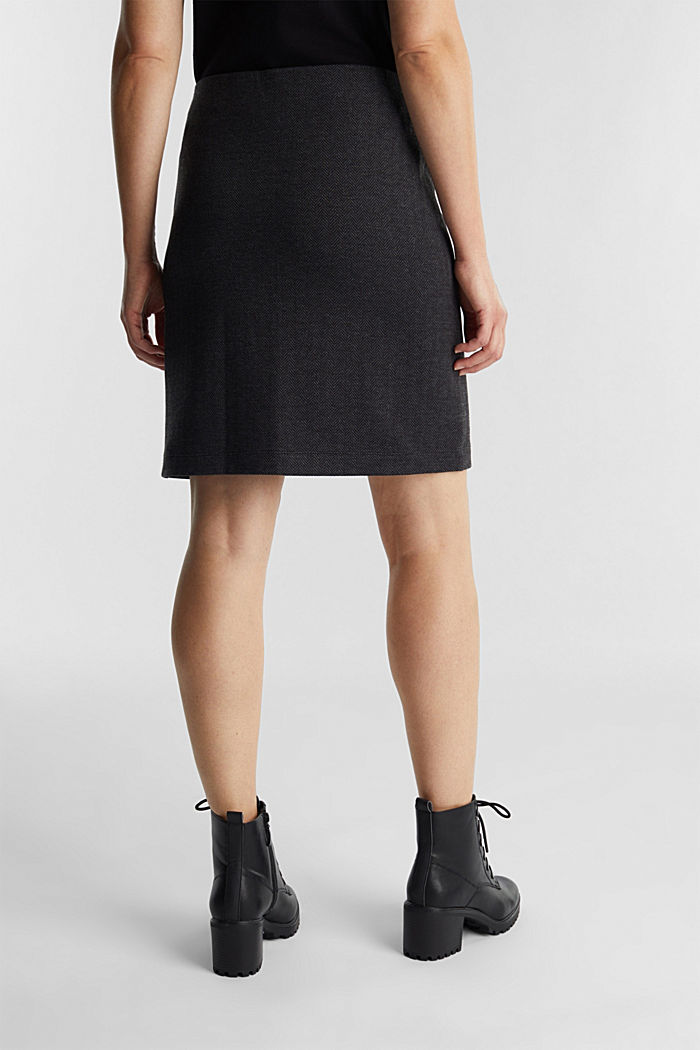 Jersey skirt with a herringbone pattern, ANTHRACITE, detail image number 3
