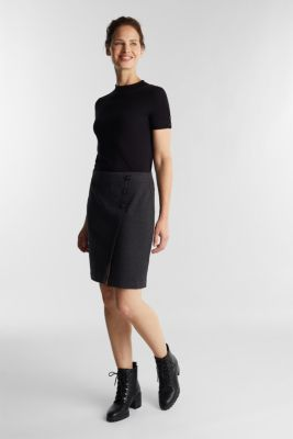 Jersey skirt with a herringbone pattern, ANTHRACITE, detail