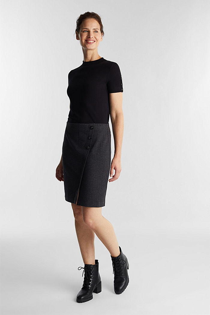 Jersey skirt with a herringbone pattern, ANTHRACITE, detail image number 1