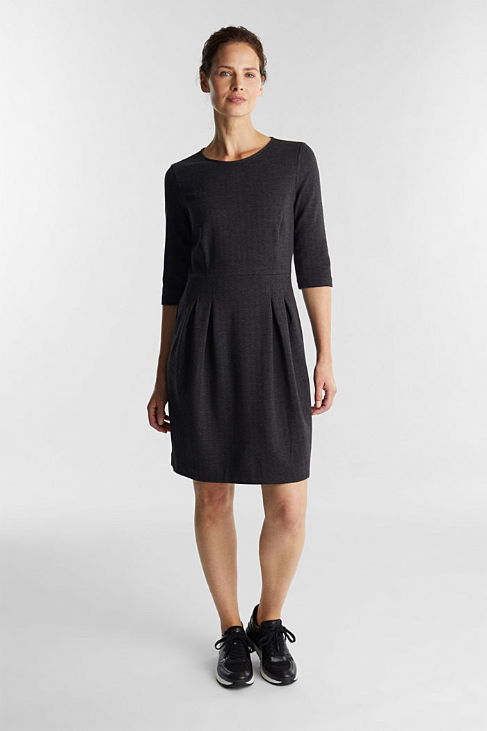 Sheath-style jacquard/jersey dress, ANTHRACITE, detail image number 0