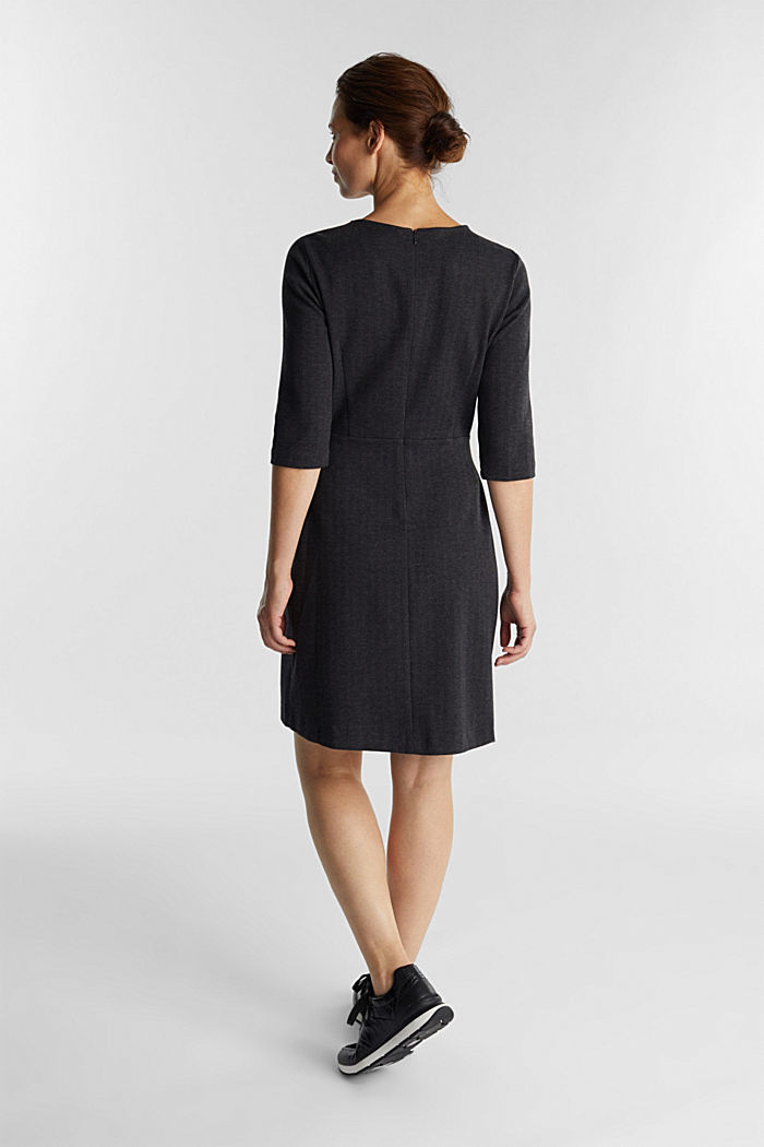 Sheath-style jacquard/jersey dress, ANTHRACITE, detail image number 3