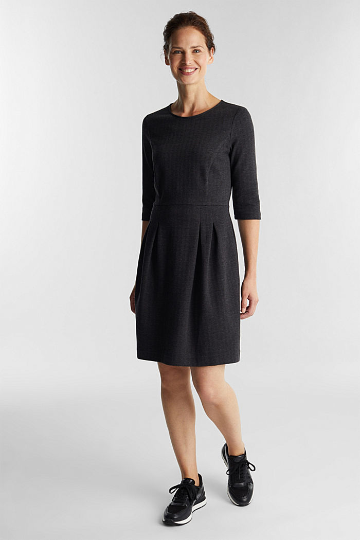 Sheath-style jacquard/jersey dress, ANTHRACITE, detail image number 1