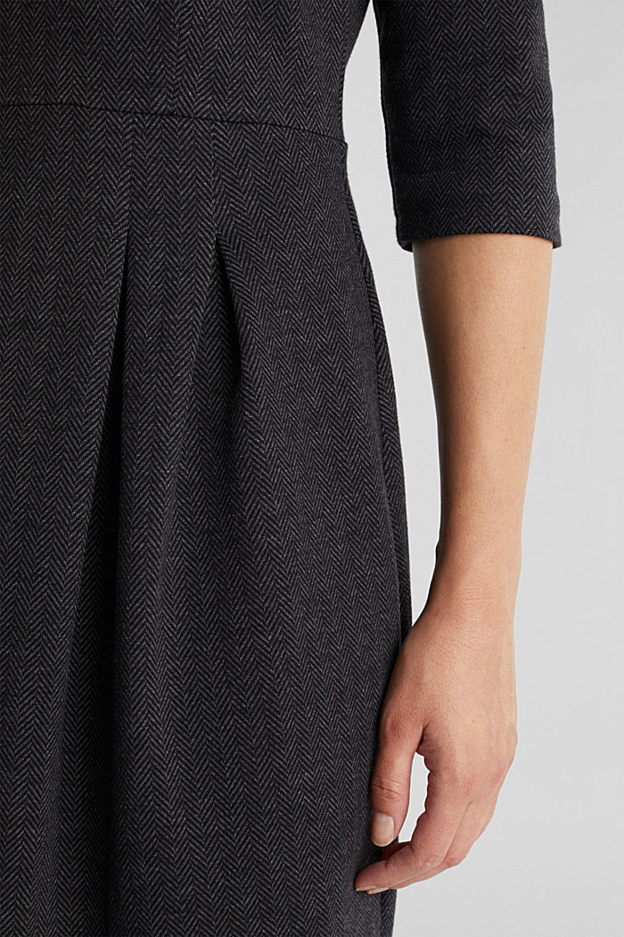 Sheath-style jacquard/jersey dress, ANTHRACITE, detail image number 5