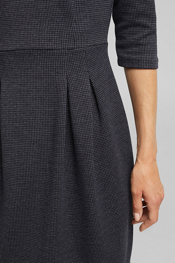Jersey dress with a mini houndstooth pattern, GREY BLUE, detail image number 2