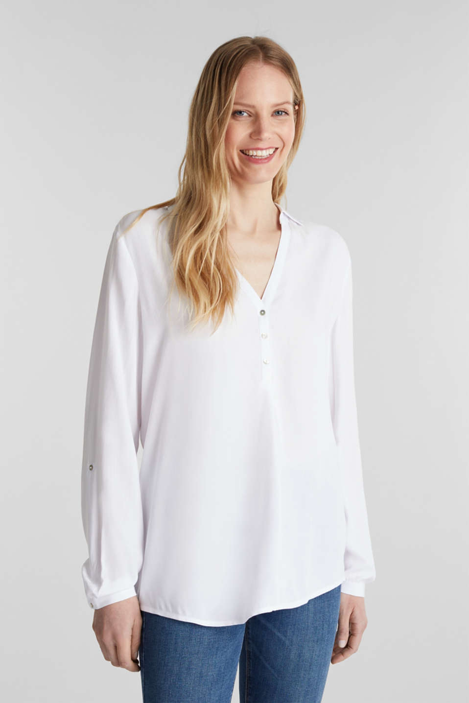Henley blouse with turn-up sleeves, WHITE, detail image number 0