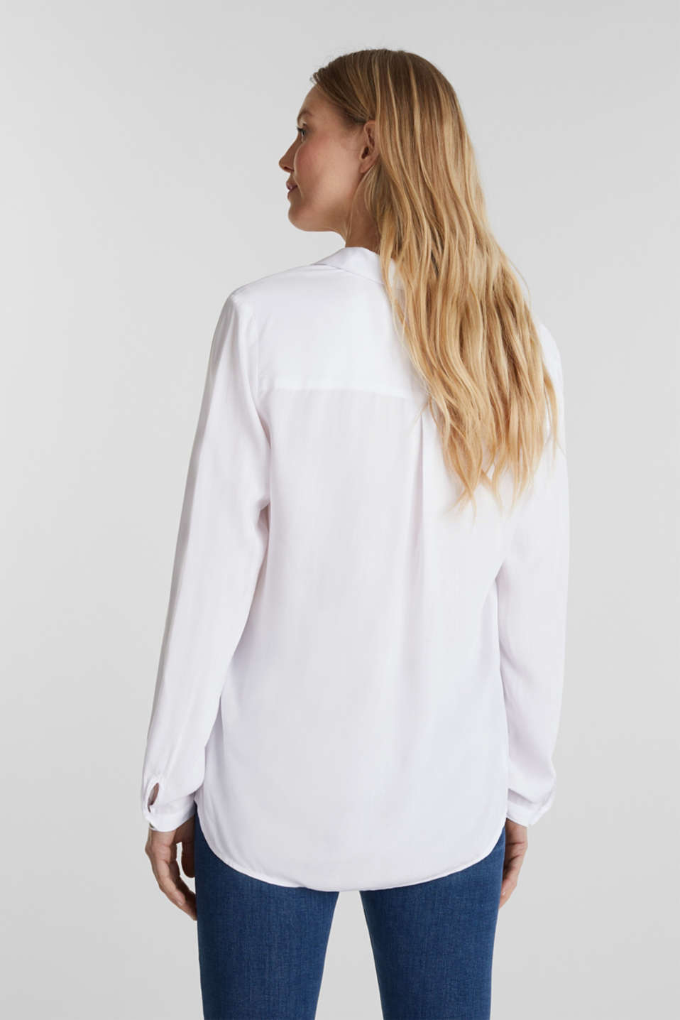 Henley blouse with turn-up sleeves, WHITE, detail image number 3