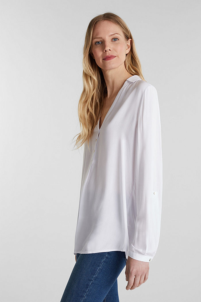 Henley blouse with turn-up sleeves, WHITE, detail image number 5