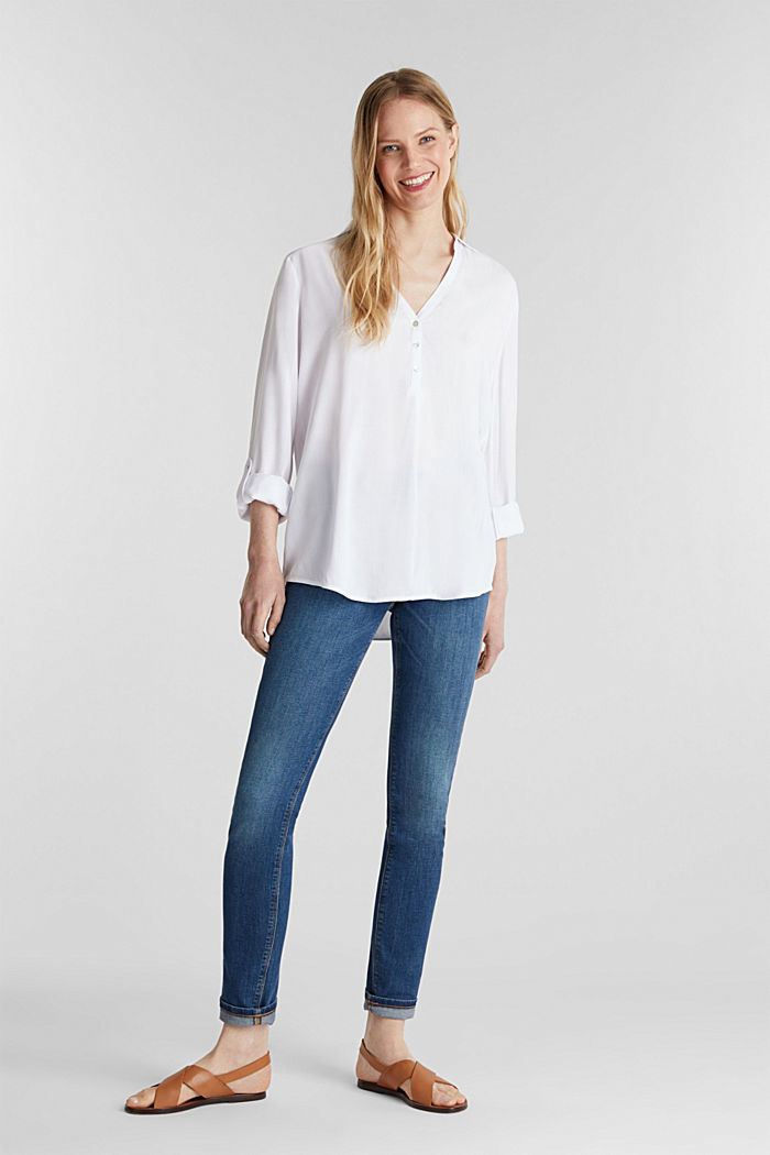 Henley blouse with turn-up sleeves, WHITE, detail image number 1