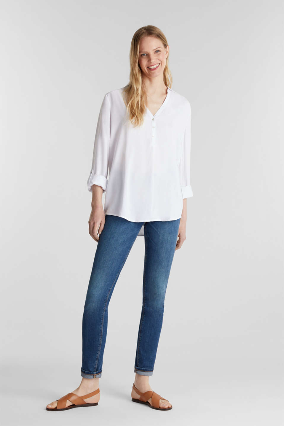 Henley blouse with turn-up sleeves, WHITE, detail