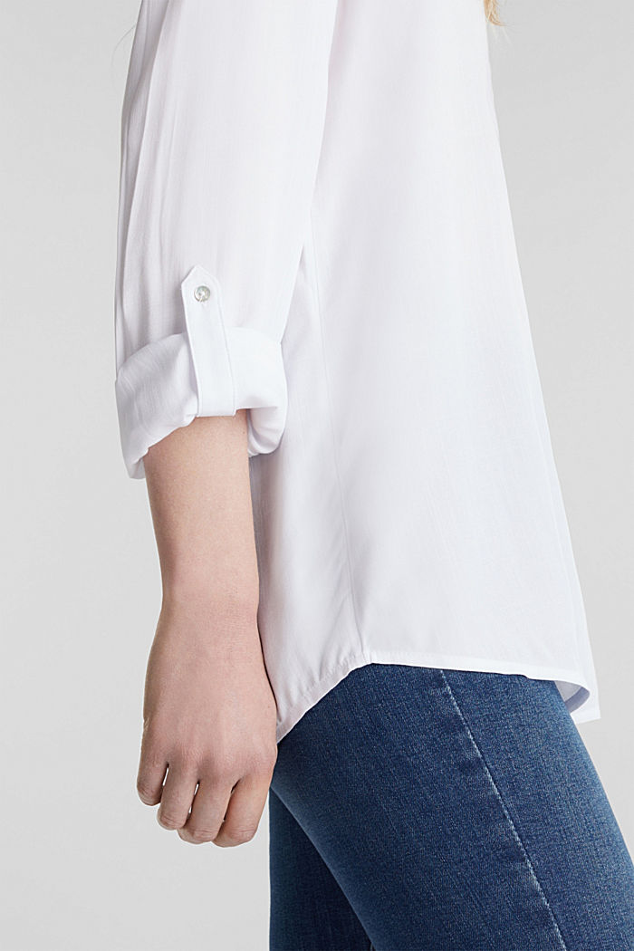 Blusa henley con mangas ajustables, WHITE, detail image number 2