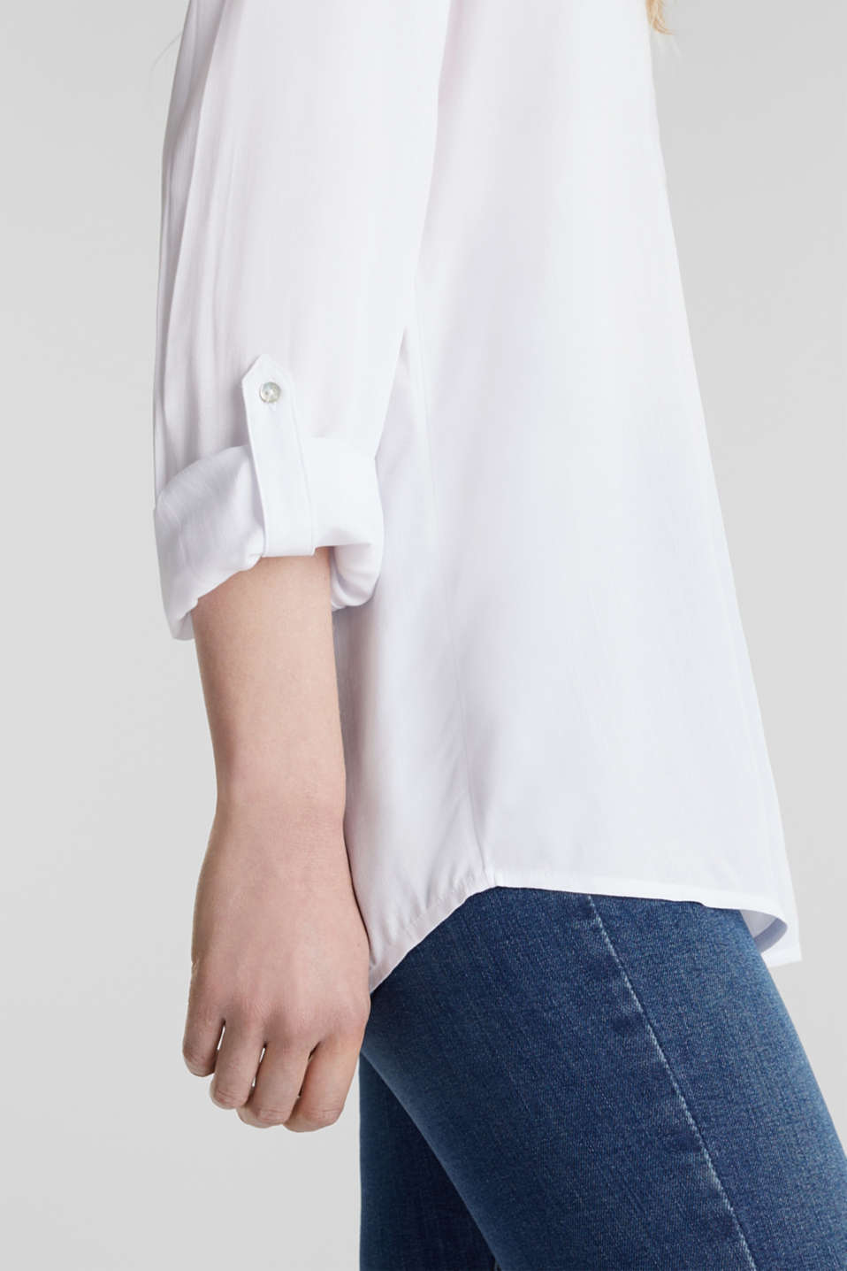 Henley blouse with turn-up sleeves, WHITE, detail image number 2