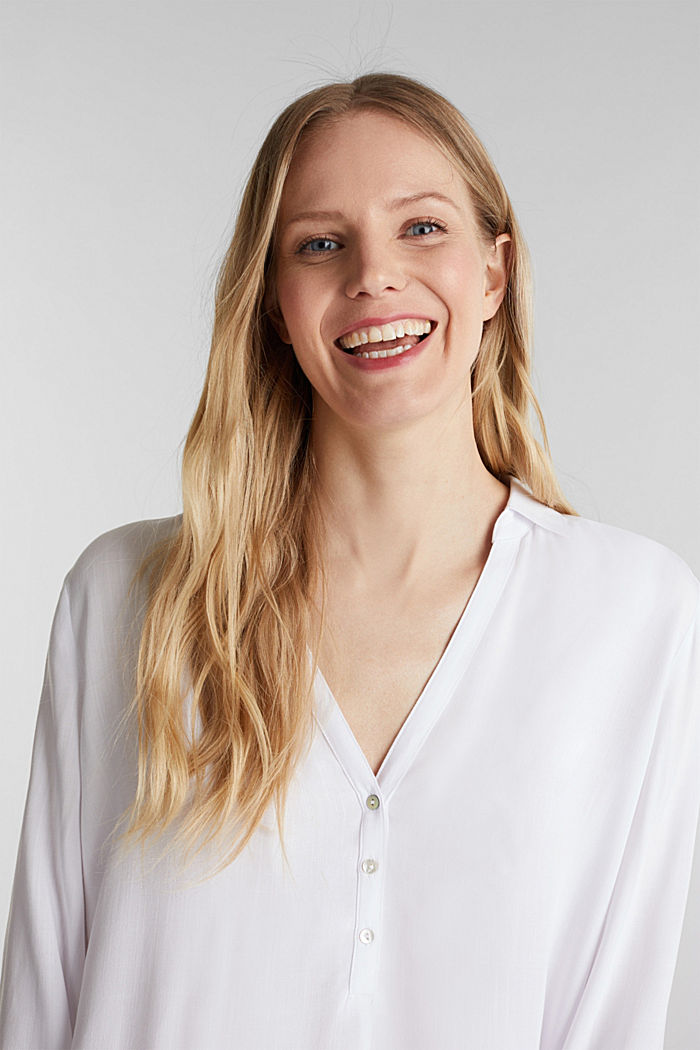 Henley blouse met oprolbare mouwen, WHITE, detail image number 6
